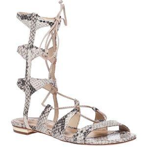 Schutz Erlina lace up sandal in snake skin